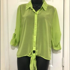 SOULMATES SEE-THRU TIE FRONT BLOUSE